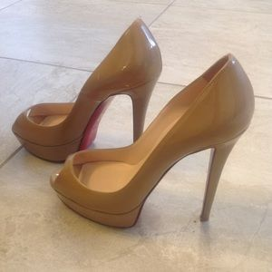Christian louboutin peep toe nude platform heels